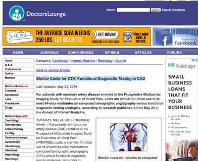 Similar Costs for CTA, Functional Diagnostic Testing in CAD