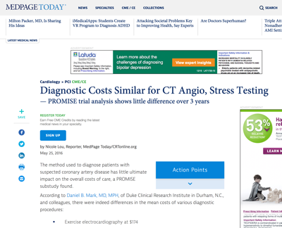 Diagnostic Costs Similar for CT Angio, Stress Testing